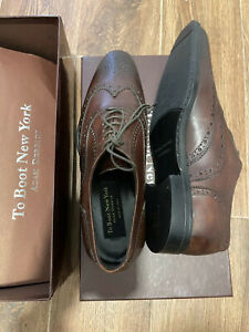 To Boot New York Winthrop Wingtip Men's Brown Leather Made in Italy Sz 8