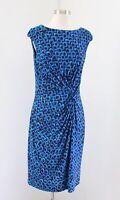 Lauren Ralph Lauren Blue Purple / Burgundy Geometric Knot Ruched Wiggle Dress 12