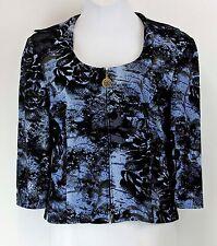 Nueva Sz 16 Black Pale Blue Gold Velveteen Scoop Neck Collared Zip Jacket *293