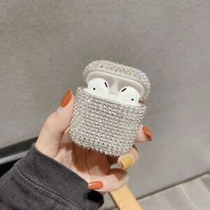 For Airpods 1/2 Luxury 3D Bling Diamond Earphone Protective Hard Case Cover