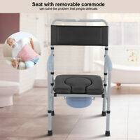 Adult Folding Steel Bedside Commode Toilet Seat Bathroom Safety Chair Adjustable