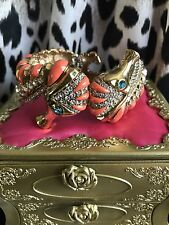 Betsey Johnson Vintage Coral Orange Gold Crystal Seahorse Bracelet Bangle Cuff