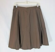 Brown Cotton Blend Flared Skirt Handmade Medium