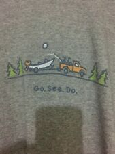"""NEW Life is Good Men t-shirts Sz XL Short Sleeve Color grey """"Go. See. Do."""""""