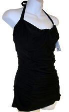 Shoshanna Ruched Swim Dress sz M/L DD black one-piece swimsuit NEW $165