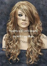 Heat Friendly Long Wavy Skin Part Wig Dark Blonde mix Flat iron OK wd 14/22