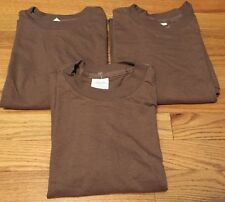 Lot 3 Vintage US Army Military Undershirt Sleeve Crew Neck Brown T Shirt. Size M