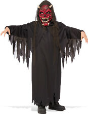 Kids Hell Raiser Costume Devil Mask with Black Robe Scary Halloween Size L 12-14