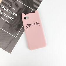 For iPhone & Samsung Galaxy 3D Case Cover Beard Cat Cute Cartoon Soft Silicone