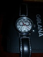 Golana-Swiss-Men's-Stainless Steel-Leather-Chronograph Watch!  Must See!
