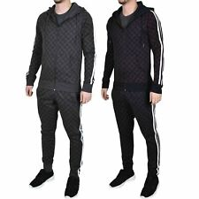Mens Full Tracksuit Fleece Hoodie Bottoms Sportswear Gym Jogger Skinny Trousers