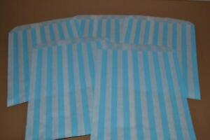 "50 x Aqua & White Candy Stripe Bags 5"" x 7"" Pick and Mix Bags"
