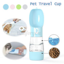 Portable pet dog Cat travel water bottle food feeder dual cup with folding bowls