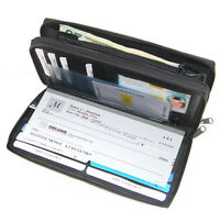 Black Woman 2 Zipper Leather Checkbook Cover Organizer Accordion Clutch Wallet