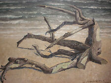 Listed Hans Weingaertner German American 1896-1970 painting seashore driftwood