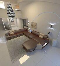 Leder Sofa Wohnlandschaft Luxus Couch Sofagarnitur PRATO XXL mit LED Beleuchtung
