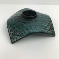 Gayle Pritchard Studio Art Pottery Teal Blue Ikebana Flower Frog Vase Square