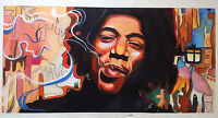 Jimi Hendrix Oil Painting Portrait Hand-Painted Art on Canvas Large 30x60