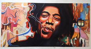 Jimi Hendrix Oil Painting Original Hand-Painted Music Pop Art on Canvas 24x48