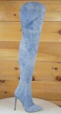 "Mac J Mineral Wash Denim Fabric 5"" High Heel Wide Top Thigh Boot Us Size 5.5-10"