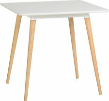 Retro Julian Dining Table Modern White/Natural ,Rubber Wood CHAIRS NOT INCLUDED