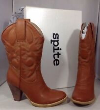 NEW SPITE Brown Leather Womens Cowboy Boots Size 7 Western Tan Low Heels Shoes