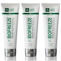 NEW Biofreeze Professional 4oz Gel Tube Pain Relief Arthritis Back - Pack of 3