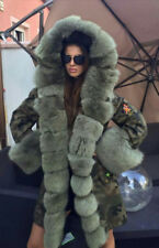 NEW Military/Army Camouflage Parka Coat Fully Lined Green Fox Fur SMALL