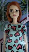 Barbie Doll Red Hair Blue and Pink Heart-Print Dress and White Platform Shoes