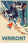 SKI Vermont New England Mountain Skiing Sports Vintage Poster Repro FREE S/H