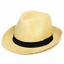 Woven Straw Style Trilby Hat Black Band (Beige, One Size)