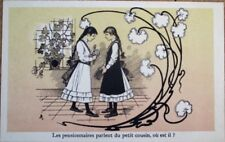 Art Nouveau 1910 Postcard: Young Girls & Flowers, Chicoree Advertising