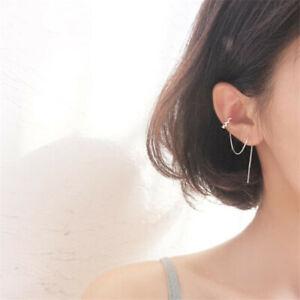 Ear Cuff Threader Earrings Women's Korean Style Crystal Rhinestone Ear Line IT