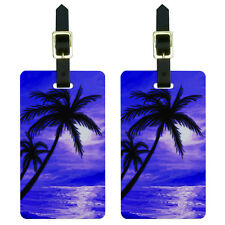 Palm Trees And Sunset Purple - Beach Tropical Ocean Luggage ID Tags Set of 2