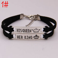 2pc His Queen and Her King Couples Bracelet Crown Pair Lover Best Friend Jewelry