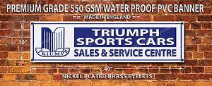 TRIUMPH SPORTS CARS WATERPROOF 550GSM GRADE PVC BANNER.GARAGE,WORKSHOP BANNER