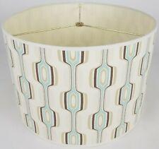 """NEW Drum Lamp Shade 15"""" Dia 10"""" H Retro Blue Fabric"""