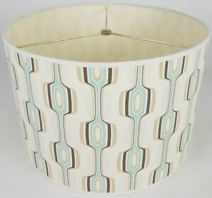 "NEW Drum Lamp Shade 15"" Dia 10"" H Retro Blue Fabric"