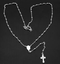 "Bold ROSARY NECKLACE CROSS Sterling Silver 25"" FREE SZ"
