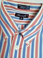 FACONNABLE Mens L Checkered red white blue striped cotton dress LS  Shirt EUC