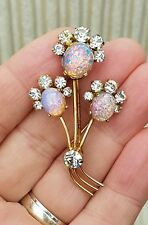 OLD VINTAGE JEWELLERY FIRE OPAL DRAGONS BREATH RHINESTONE AMETHYST BROOCH PIN