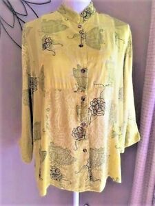 CITRON SANTA MONICA~LARGE~CHARTREUSE GREEN BUTTON UP FLORAL BUTTERFLY BLOUSE TOP