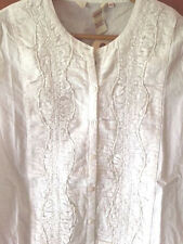 SUNDANCE CATALOG  Timeless Bibbed White Cotton Blouse PETITE MEDIUM  NWT!!