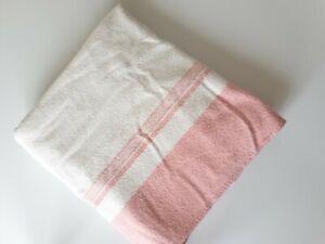 Vintage Retro Blanket Wool Double Cuddledoon Pink Cream Very Good Condition