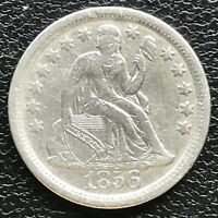 1856 Large Date Seated Liberty Dime 10c High Grade XF - AU Philadelphia #14509