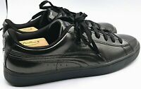 PUMA Basket Classic Low Top Sneakers Mens Shoe All Black Glossy Finish Size 12