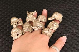 Chinese old tibet silver handmade skull elephant sheep leo wild boar statue ring