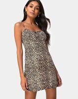 MOTEL ROCKS Kumala Slip Dress in Rar Leopard Brown (MR47)