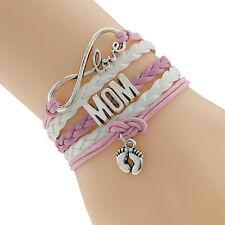 Women's Fashion Jewelry Mom Baby New Born Footprints Charm Leather Bracelet 28-3