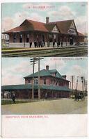 Postcard Big Four & Illinois Central Railroad Depot in Kankakee, Illinois~107376